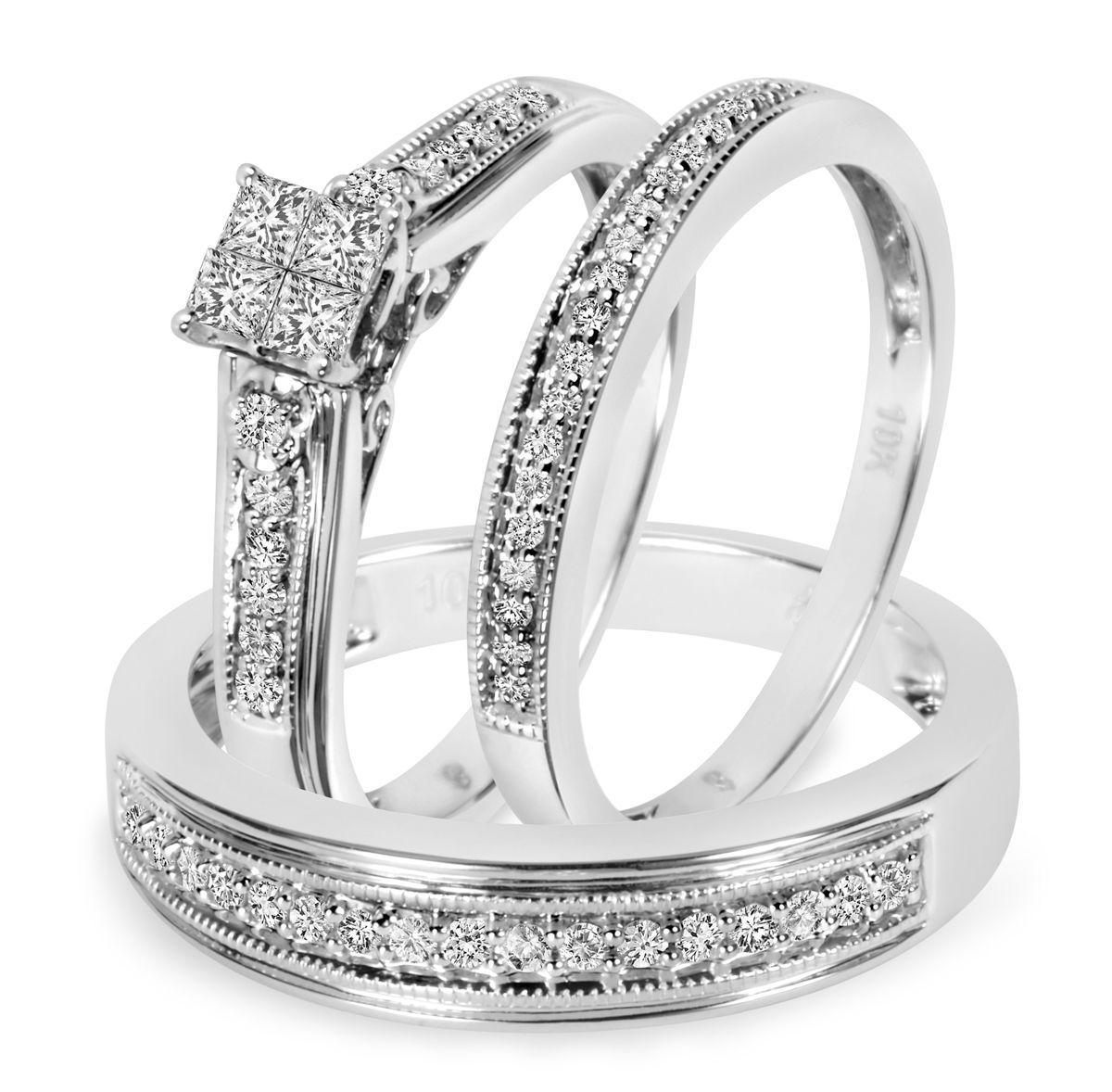 1 2 Carat T W Diamond Trio Matching Wedding