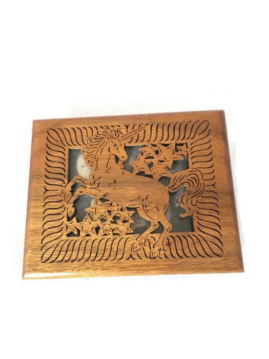 "Vintage Lasercraft Unicorn Music Box, Solid American Walnut Wood Carved Sankyo Music Box Song ""Dancer"", Gift for Daughter, Nursery Decor"