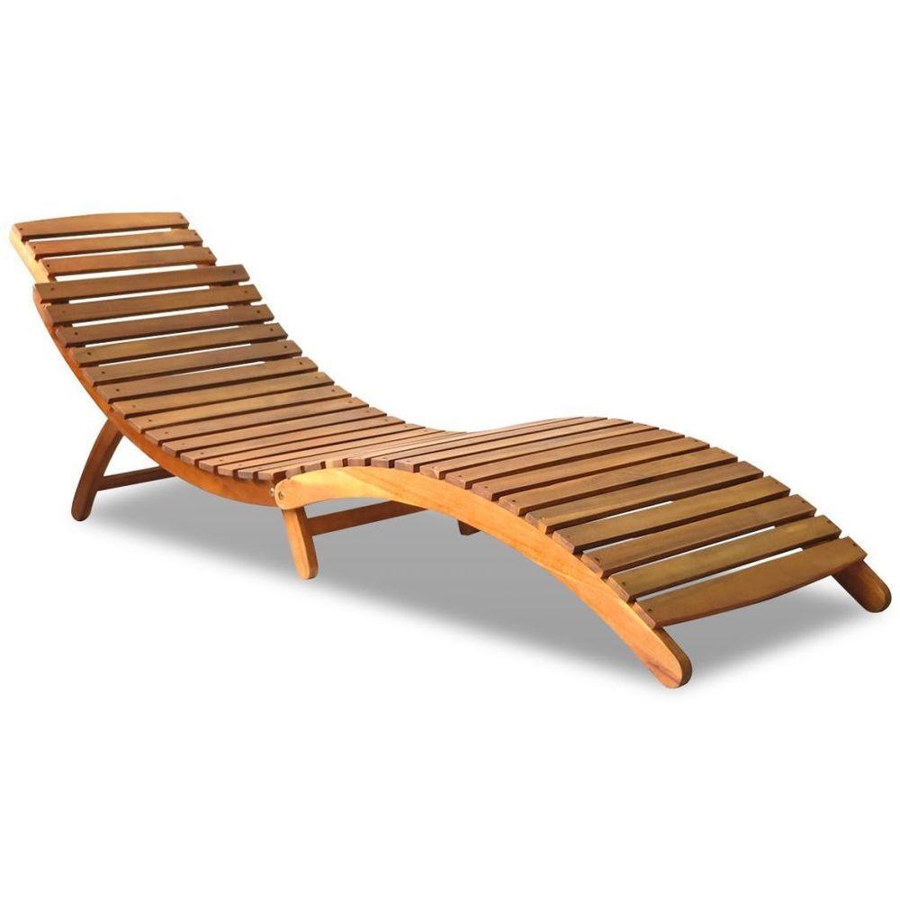 Vidaxl Akazie Sonnenliege Holz Liege Liegestuhl Gartenliege