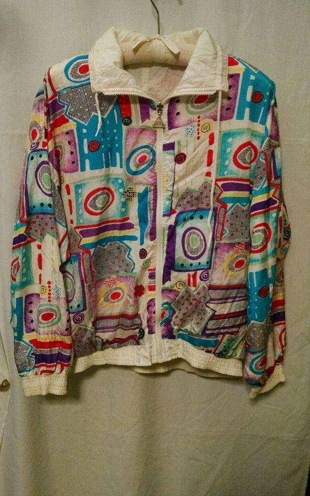 Casual Isles Vintage 80's Windbreaker Jacket Reversible Geometric M Nylon #CasualIsles