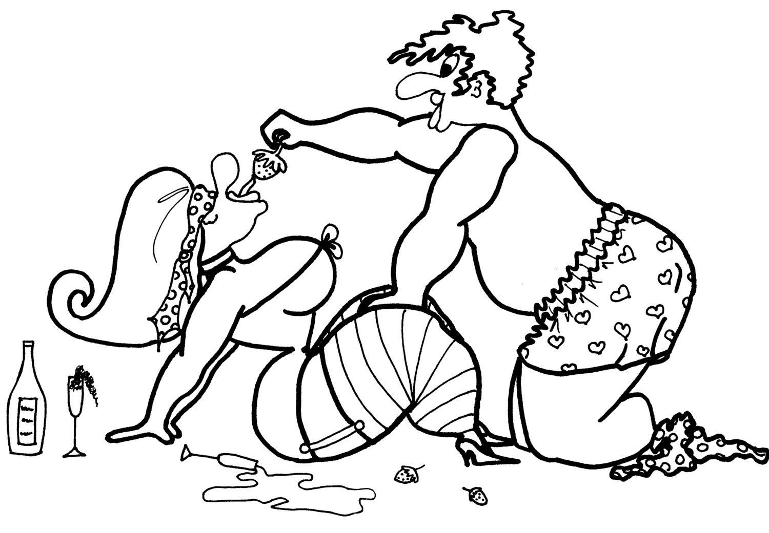 Colouring pages kitchen - Strawberries Champagne Coloring Pages For Adults From The Chubby Art Cartoon Colouring Book Of Erotica Tempting Tastes In The Kitchen