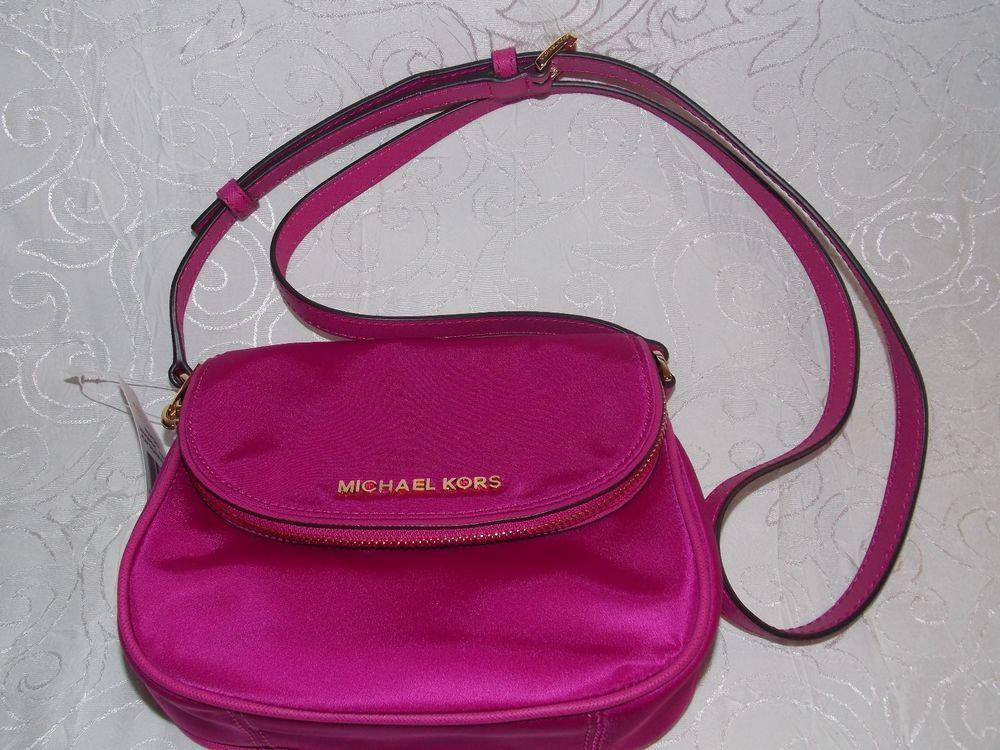a73ff2625f5e Michael Kors Purse Bedford Flap Nylon Crossbody Hand Bag Fuschia Pink Great  Rare #MichaelKors #Crossbody