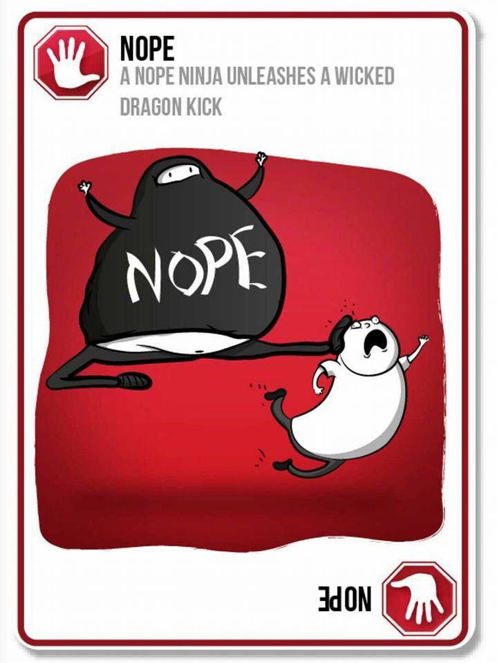 The Nope Ninja Exploding Kittens Exploding Kittens Card Game Kitten Art