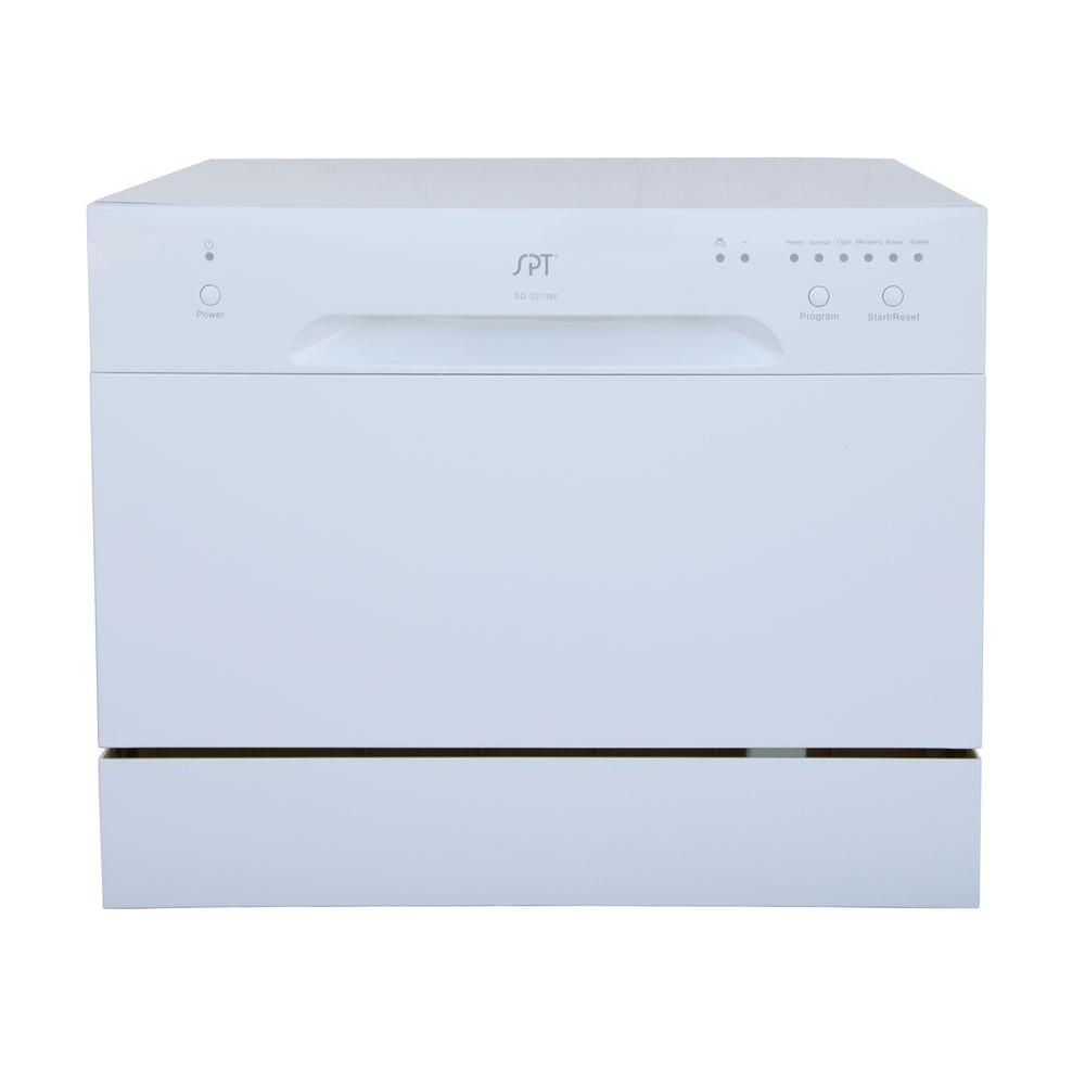 Spt Countertop Dishwasher In White With 6 Place Settings Capacity Countertop Dishwasher Countertops Dishwasher