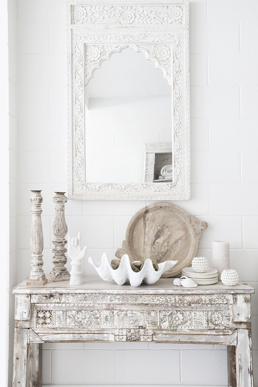White washed indian console and white indian mirror in our noosa store photography and styling by villastyling