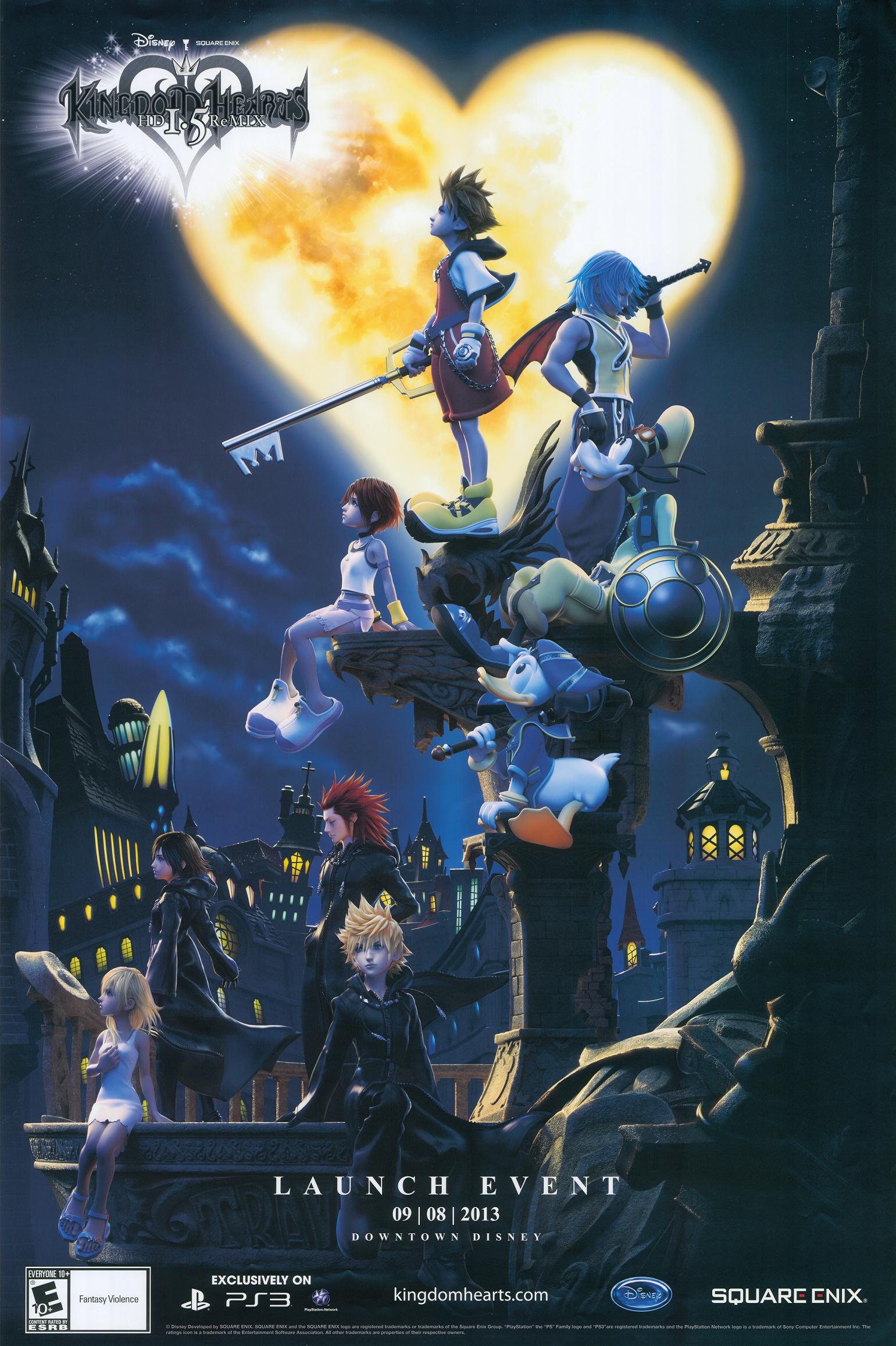 Poster promotional Sora, Riku, Kairi, Donal, Goofy, Namine