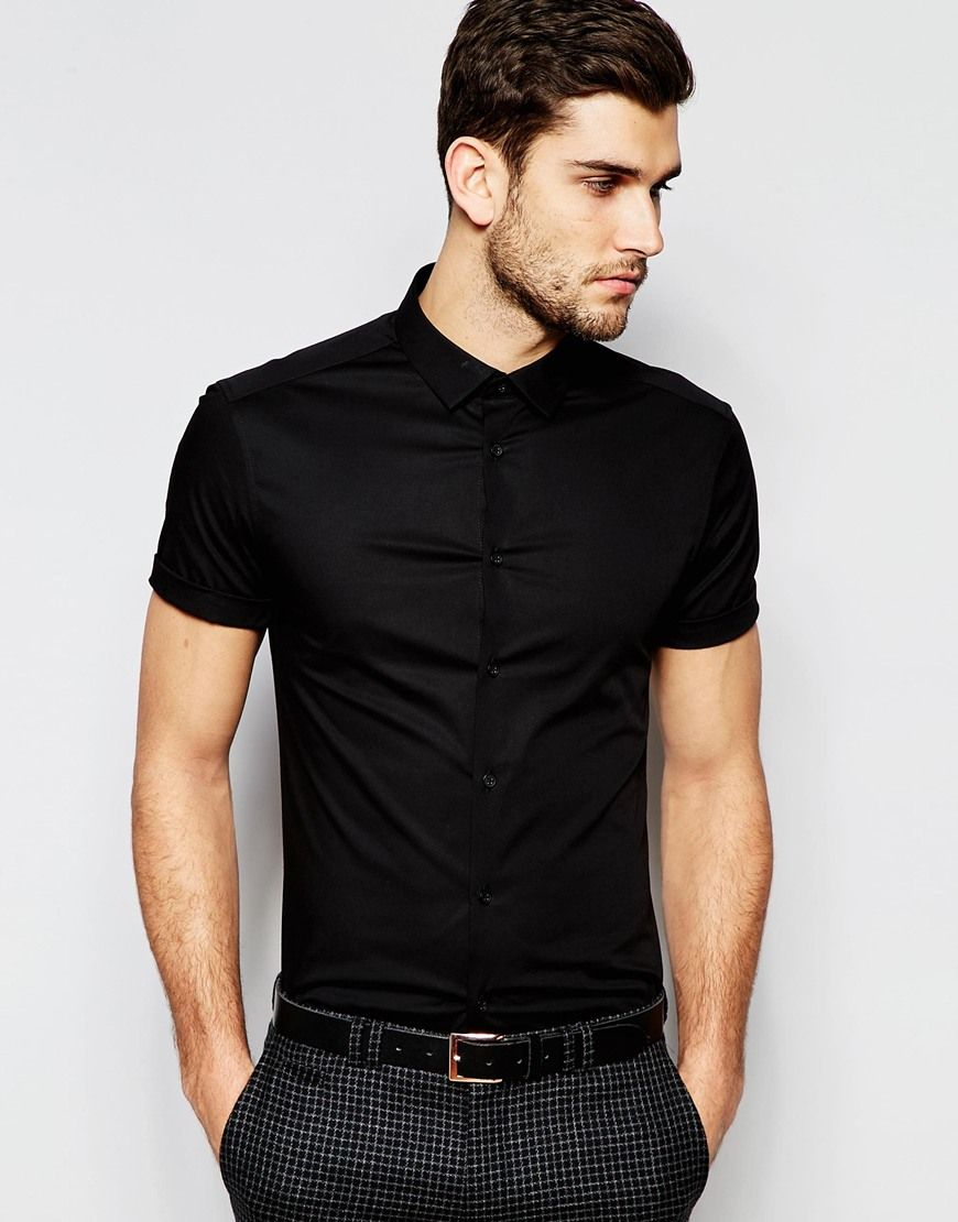 ad819fa40 ASOS Skinny Shirt In Black With Short Sleeves | style | Cotton ...