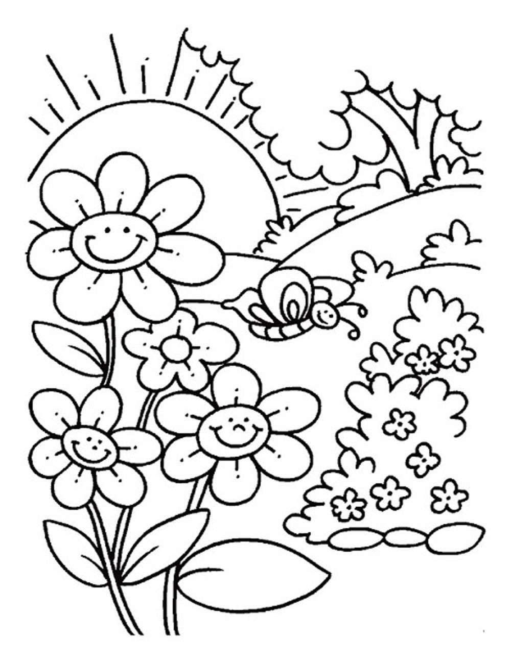 Smiling Flowers Spring Coloring Pages Spring Coloring Sheets