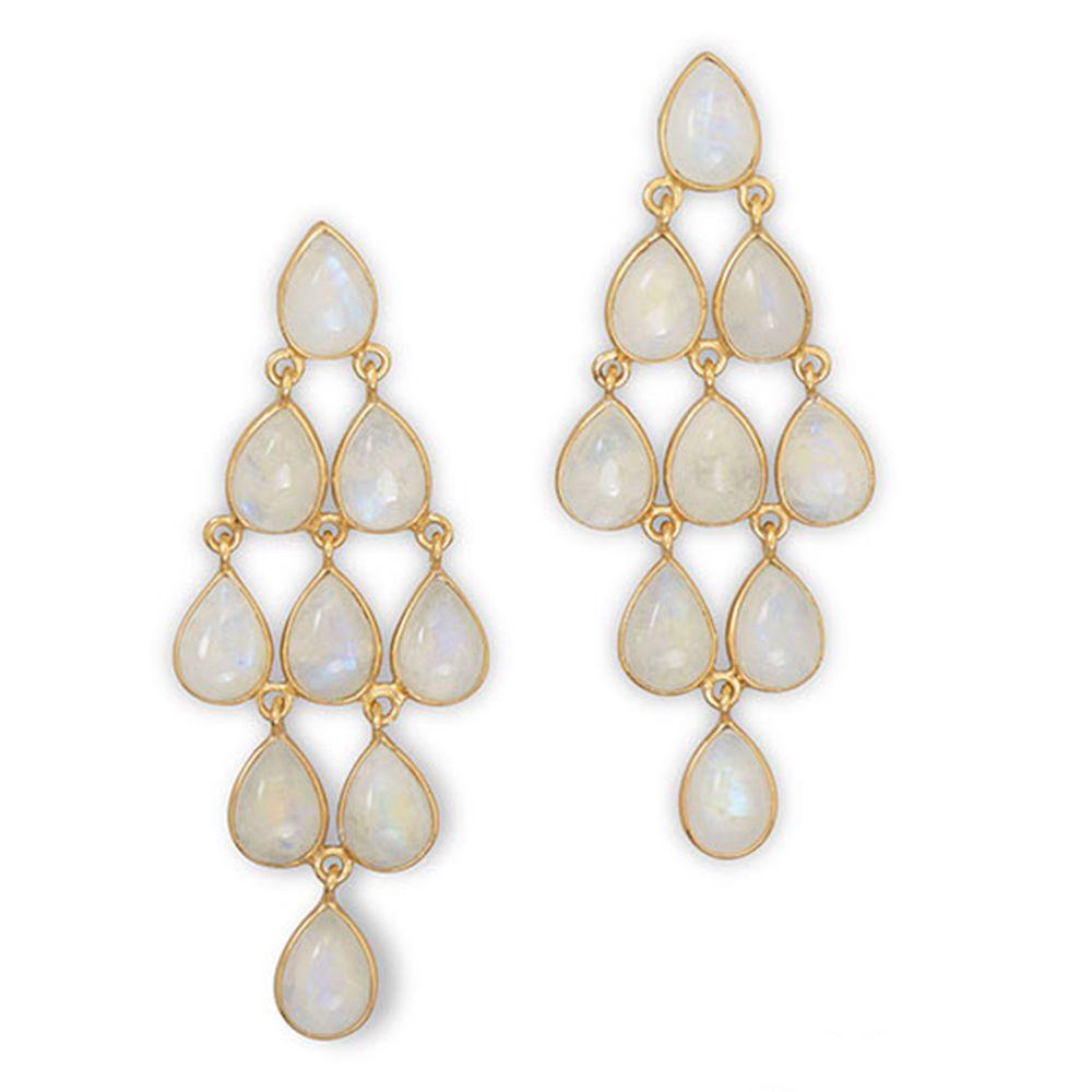 Gold Plated Rainbow Moonstone Chandelier  Sterling Silver Drop Dangle Earrings