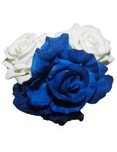 minxs pin up hawaiian rockabilly blue and white roses hair clip