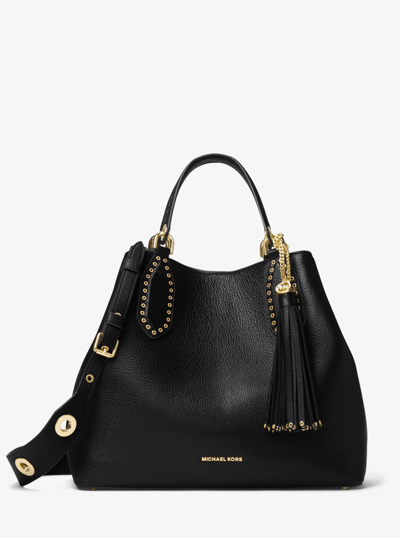 c2431942b5a1 Michael Kors Brooklyn Large Leather Satchel - Black in 2019 ...