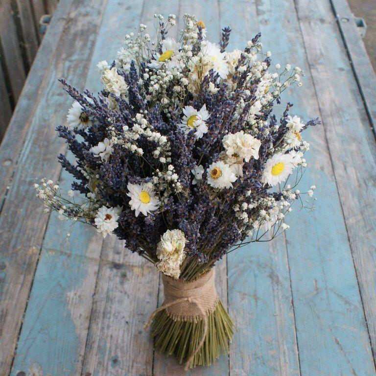 Lavender Twist Dried Flower Daisy Babys Breath Bouquet Etsy Dried Flower Bouquet Flower Bouquet Wedding Daisy Bouquet