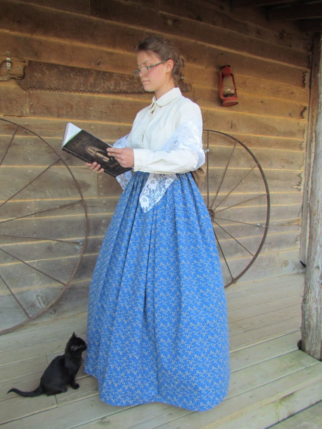 pioneer woman clothing drawing. little house on the prairie school teacher historical costume -blue pioneer woman- adult size woman clothing drawing o