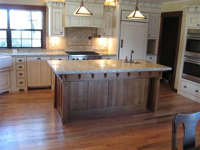Quarter sawn oak kitchen island site creation and design for Arts and crafts kitchen design ideas