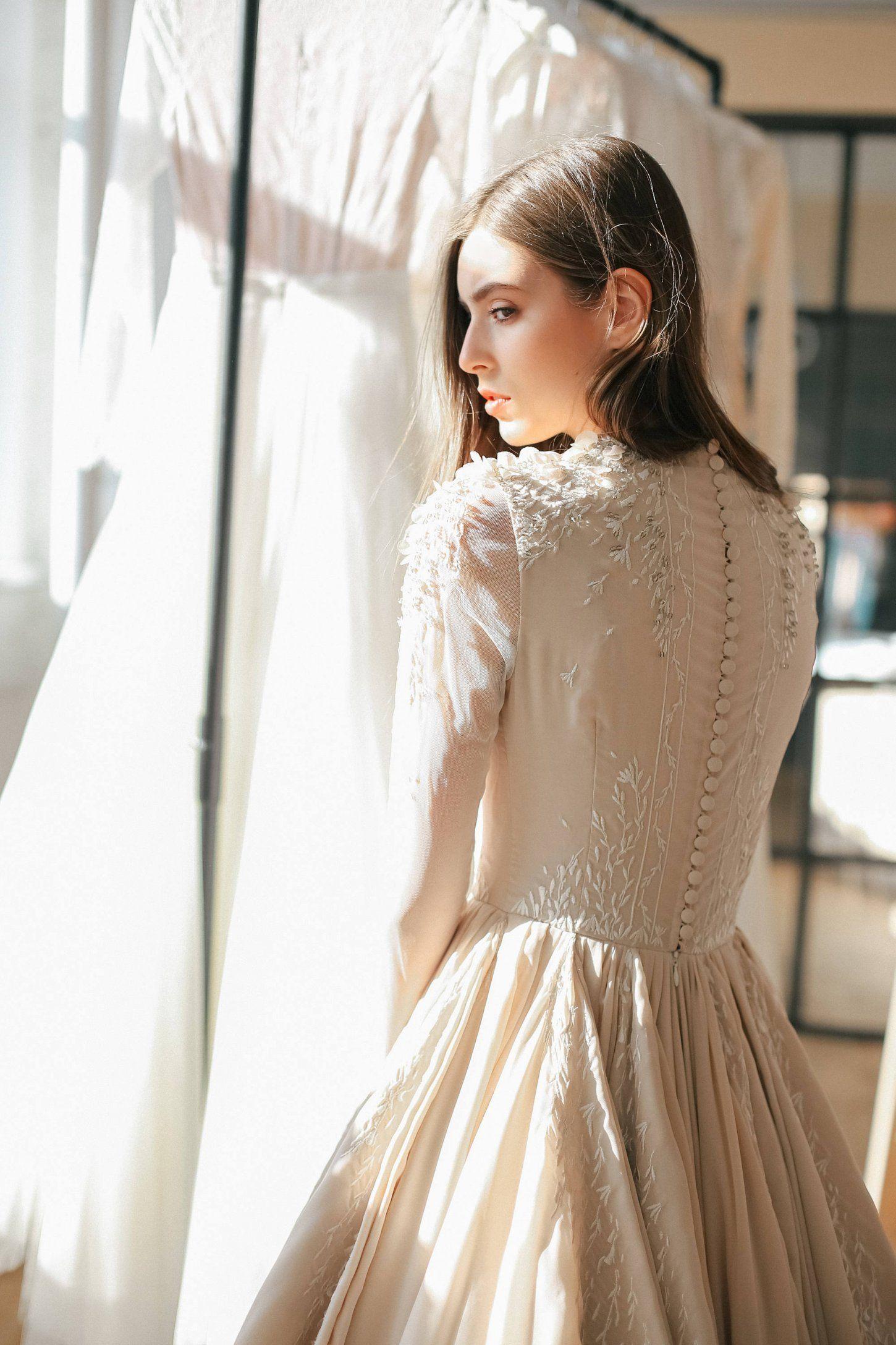Ballgown beige wedding dress with sheer long sleeve