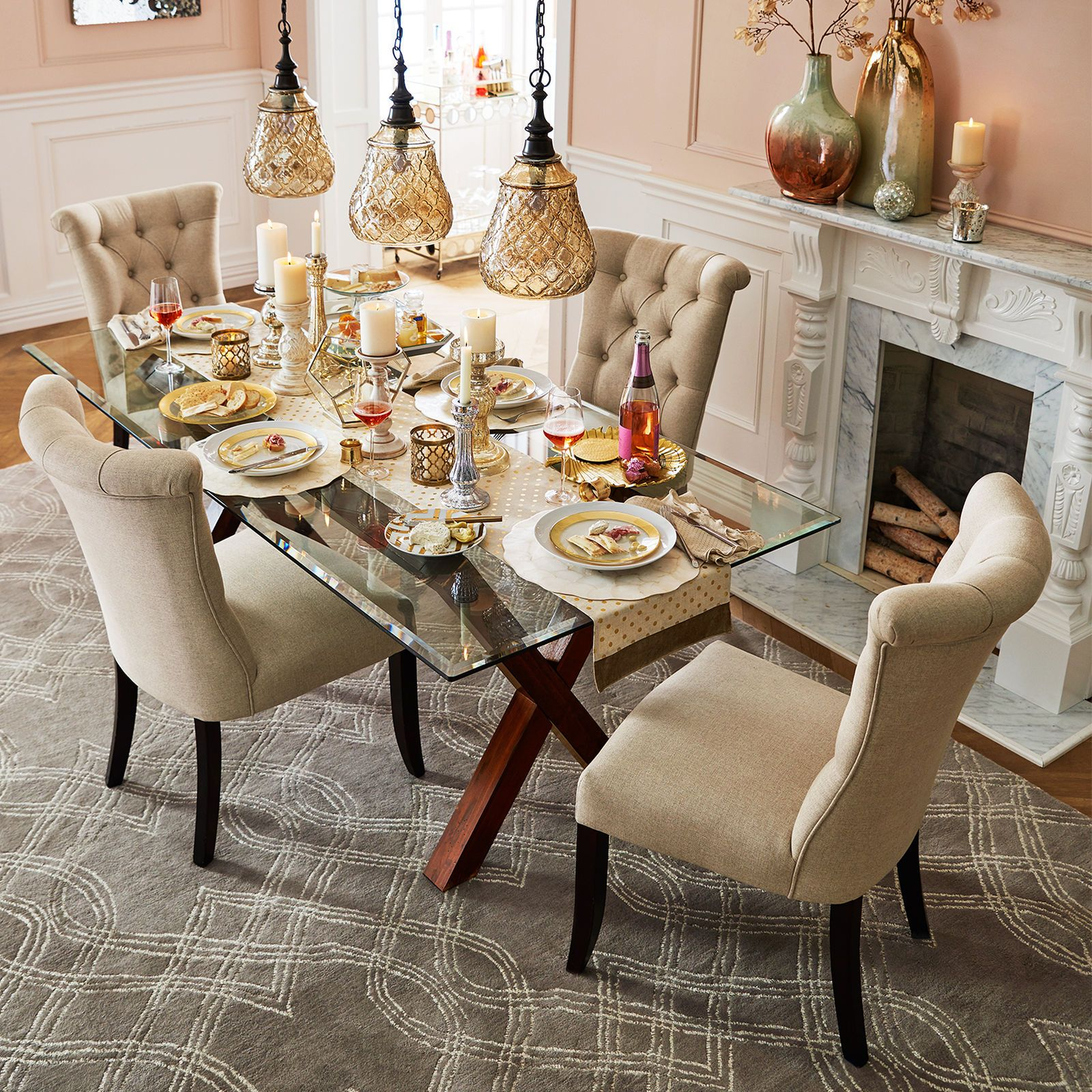 Start With Pier Bennett Dining Table Base And Our Rectangle Glass Table  Top, And Then Surround Your Table With Plenty Of Button Tufted ...
