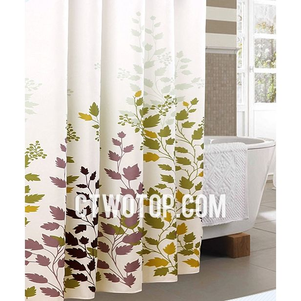 White And Green Best Casual Waterproof Leaf Tree Shower Curtains Fabric Shower Curtains Fall Shower Curtain Shower Curtain
