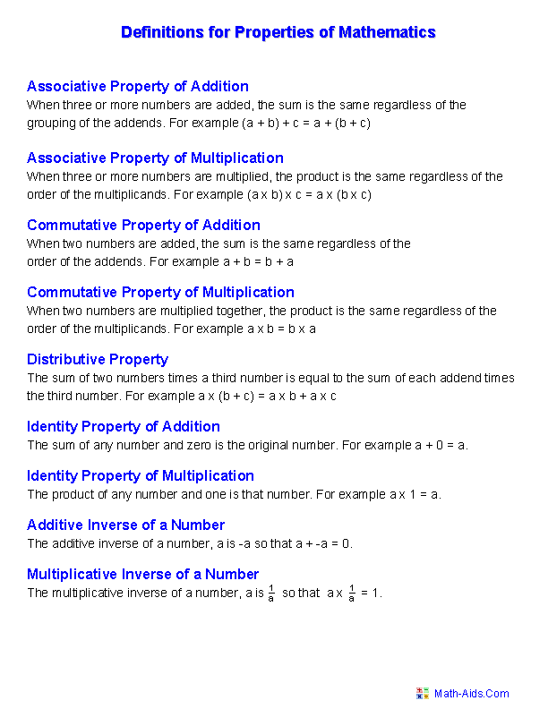 Properties Worksheets Properties Of Mathematics Worksheets Mathematics Worksheets Math Properties Algebra Worksheets