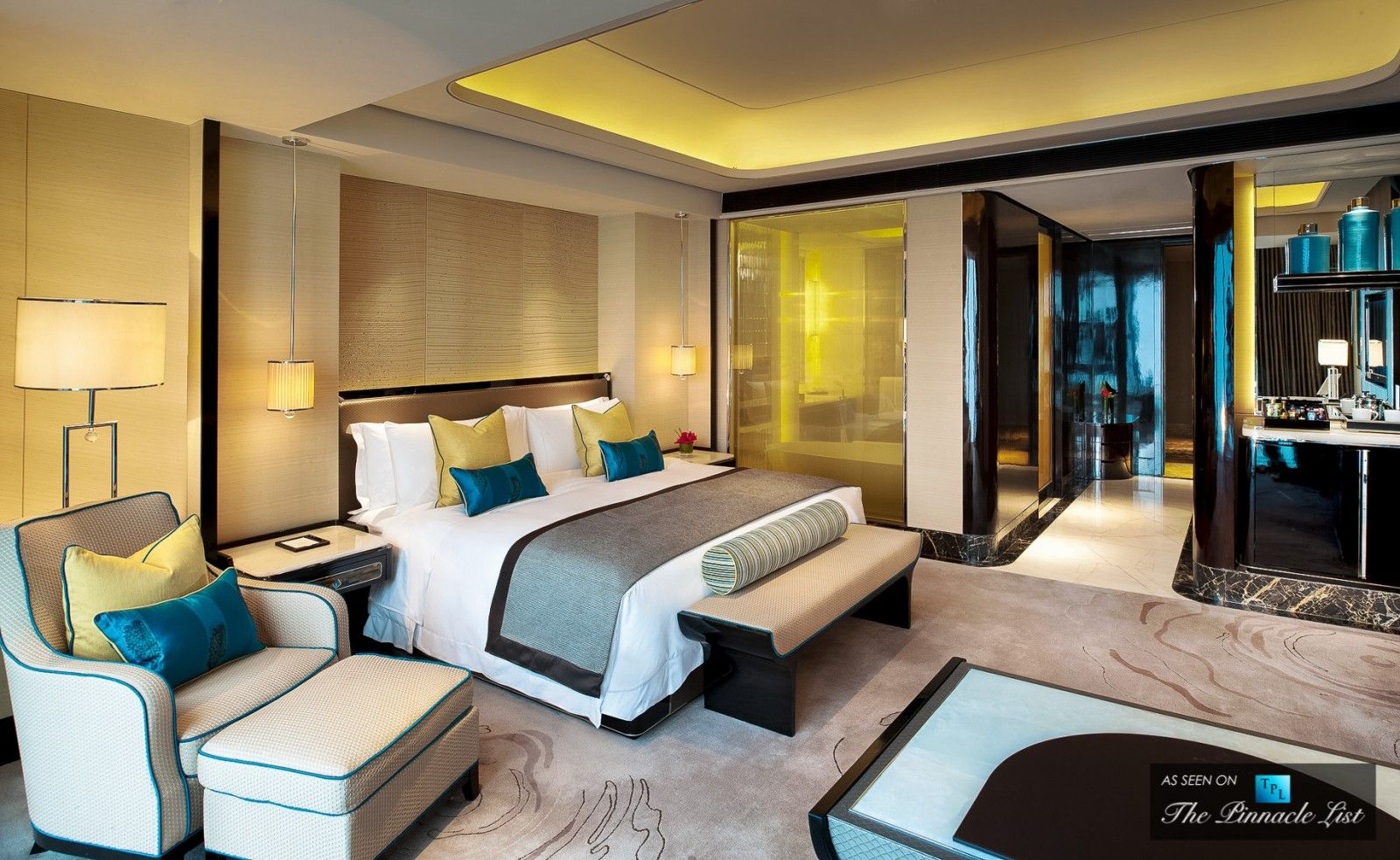 Comfort abounds in this hotel suite st regis luxury for Hotel design color
