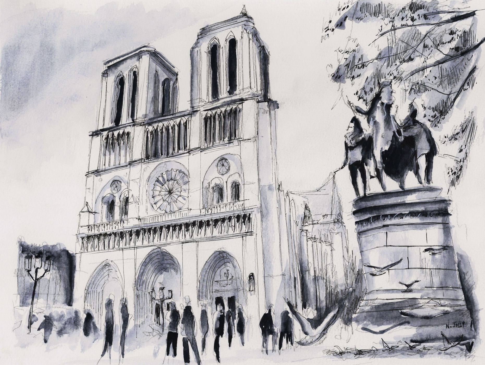 Signed Print Le Parvis De Notre Dame Paris Black Ink And Watercolor On Paper By Nicolas Jolly Paris Painting Architecture Sketch Beautiful Sketches