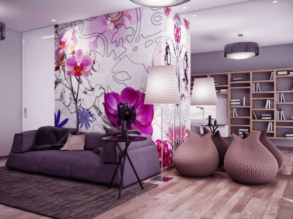 Beautiful Living Room With Gray Sofa And Pink Flower Wall Dec