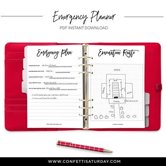 Emergency Printable Planner Family Binder Emergency Info