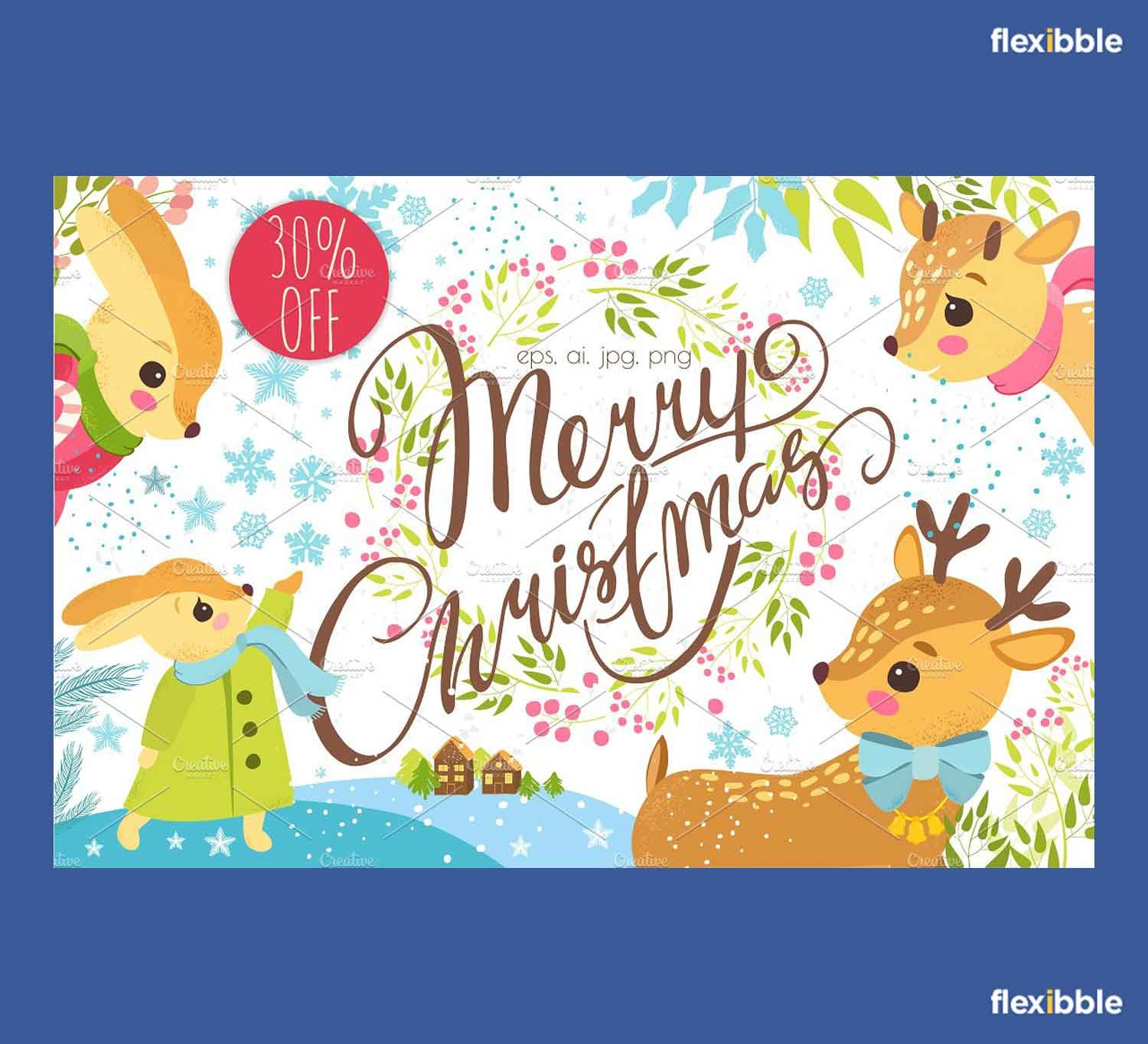 Free Merry Christmas Illustrations Set
