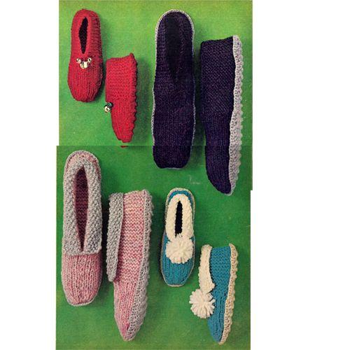 Easy Knitted Slippers Pattern Women Mens Children Beginner
