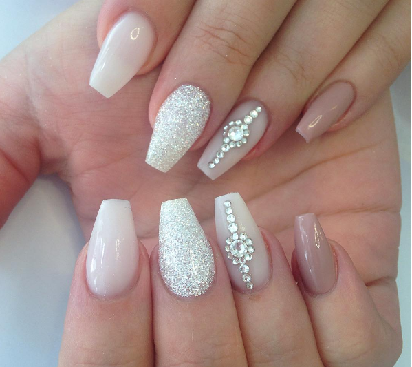 Taupe Marshmallow With Crystal White Diamond Cute Simple Nails Wedding Nail Art Design Simple Nails