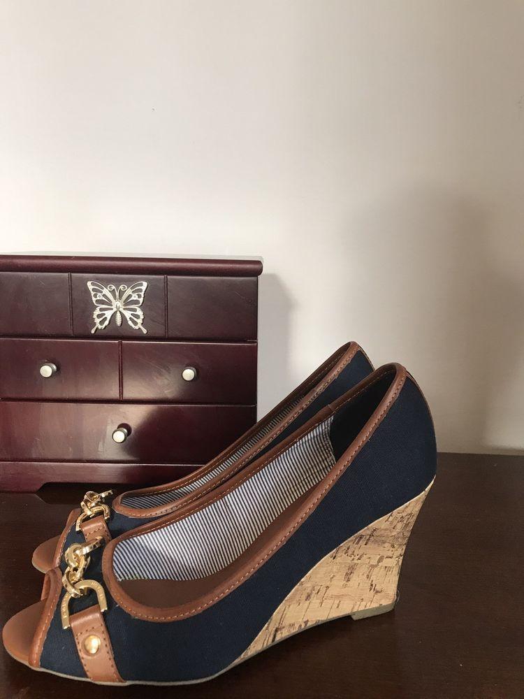 ca7e794cd0d Tommy Hilfiger Tawnisha Peep Toe Wedges  fashion  clothing  shoes   accessories  womensshoes