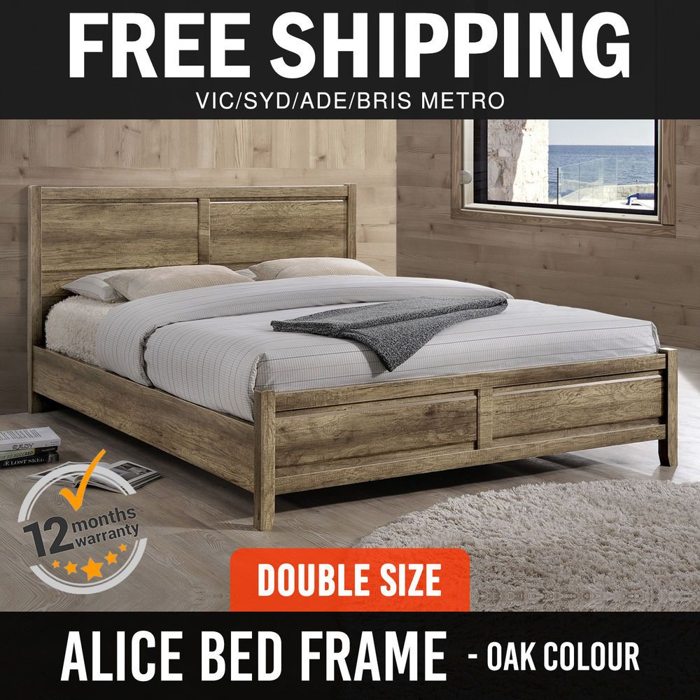 bed frame mdf flat pack aesthetic strong legs double size oak colour
