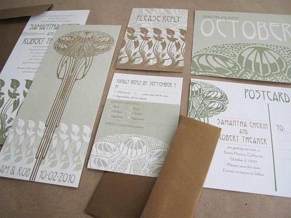 Little eggplant wedding  jeremy and kathleen  Wedding Invitation  Earthy Art  Nouveau Deuxde Lovely Affair   Guest Post  Planning a Unique Vintage Wedding  . Art Deco Wedding Invitation. Home Design Ideas