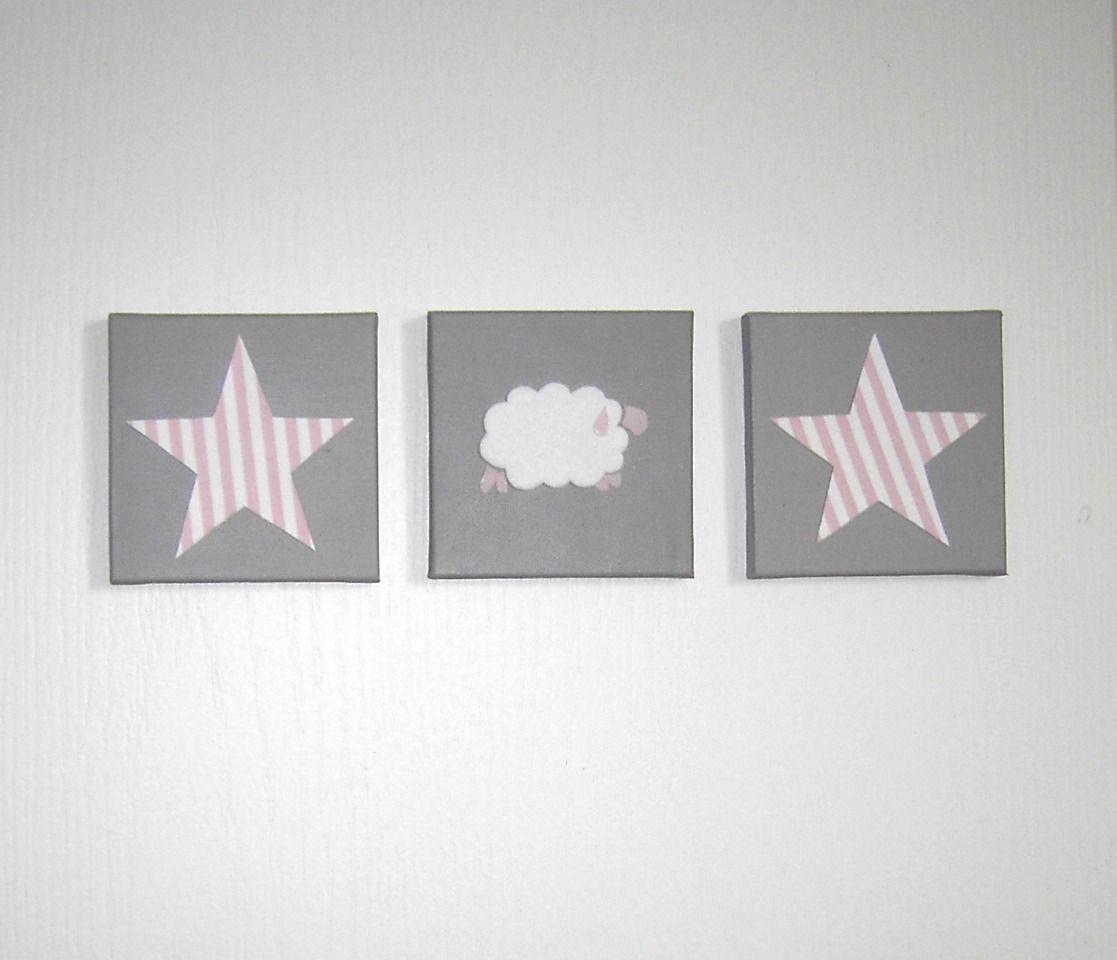 Tableau Triptyque Avec étoiles Et Mouton Rayures Blanc Rose Sur - Decoration murale pour pinterest chambre