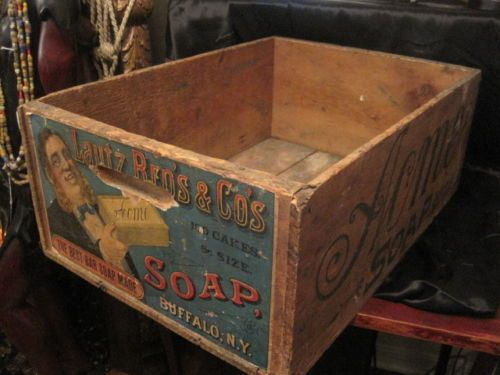Antique Lautz Bros & Co Wood Box Crate, ACME Soap 1870's! Advertising Crate