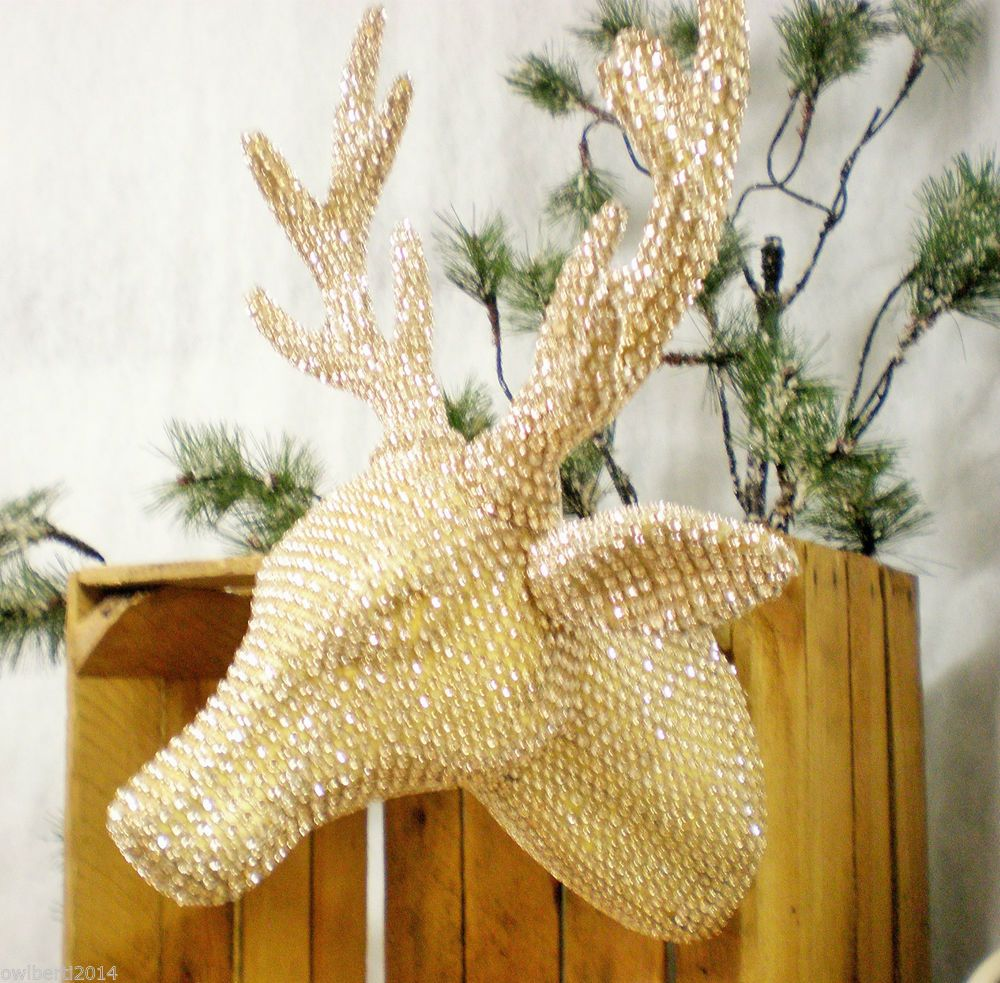 LARGE Diamante Wall Hanging Reindeer Head Soft Champagne colour wall ...