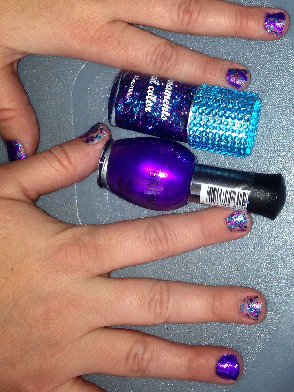 My Nails!  Purple and purple sparkles!