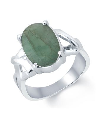 G Luck Emerald (Panna) 92.5 Silver Gemstone Ring Rings on Shimply.com