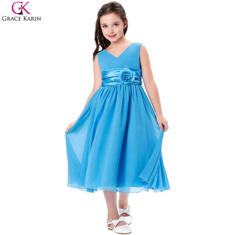 Grace karin flower girl dresses v neck chiffon birthday pageant