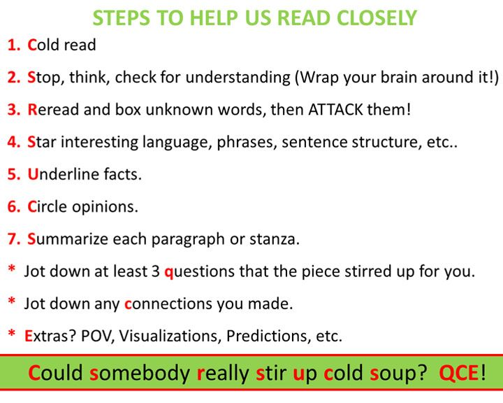 Suggestions to help students read closely - important to distinguish ...