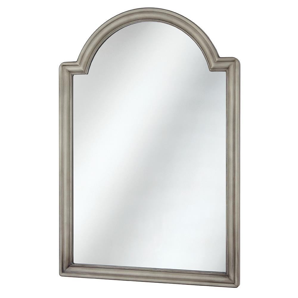 Home Decorators Collection 22 In W X 32 In H Framed Arched Anti Fog Bathroom Vanity Mirror In Pewter 45382 The Home Depot Arch Mirror Home Decorators Collection Framed Mirror Wall