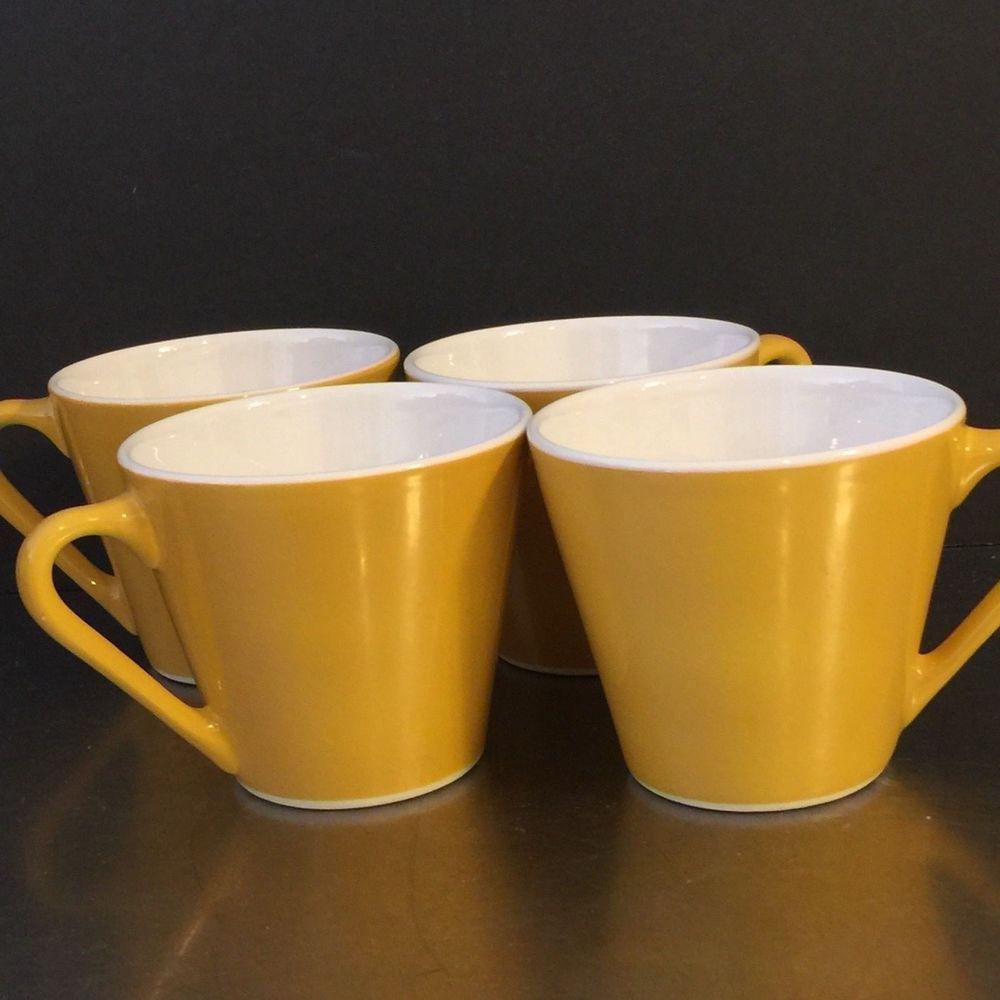 Vintage Syracuse China Mug Cup Set 4 Syralite Gold