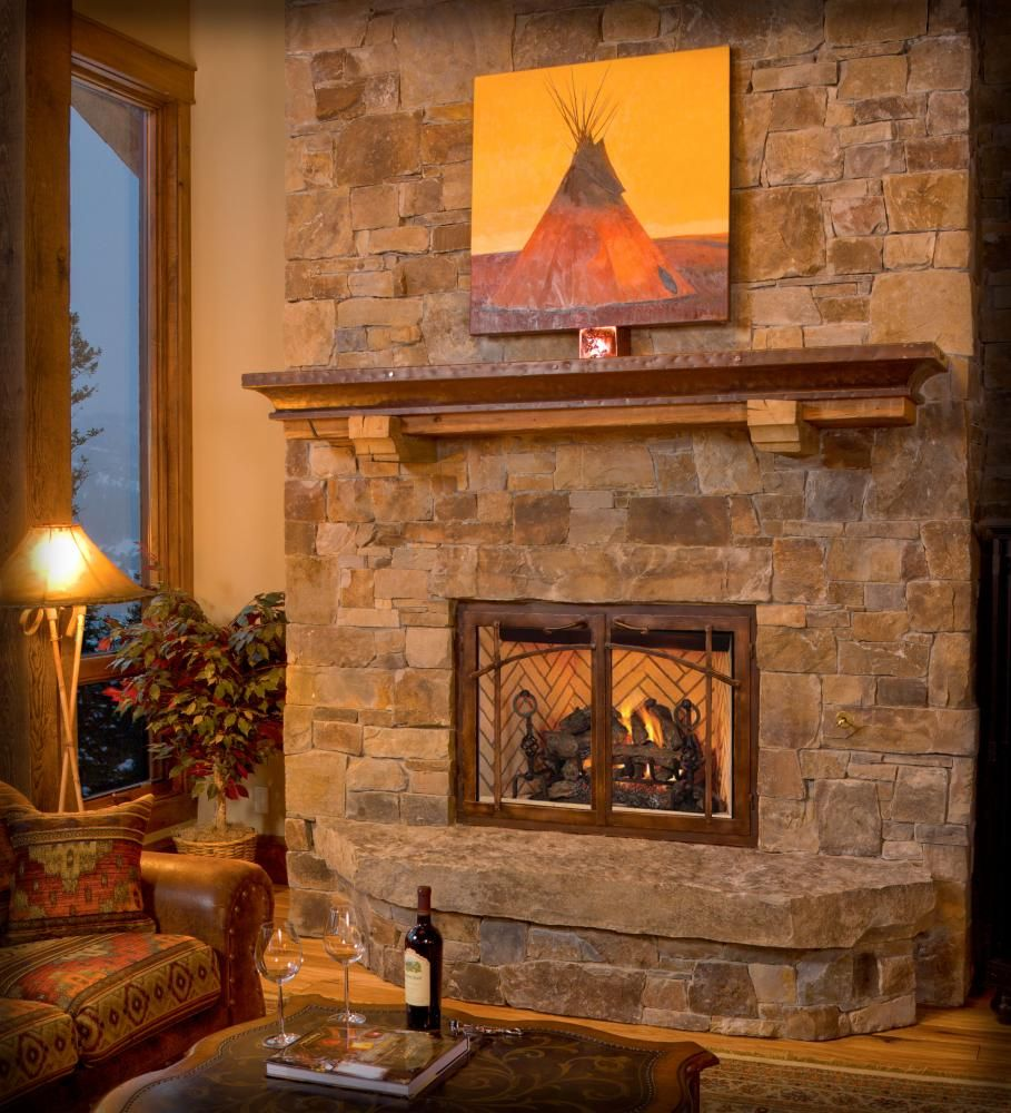 Sawtooth b vent gas fireplace in craftsman style for Craftsman gas fireplace