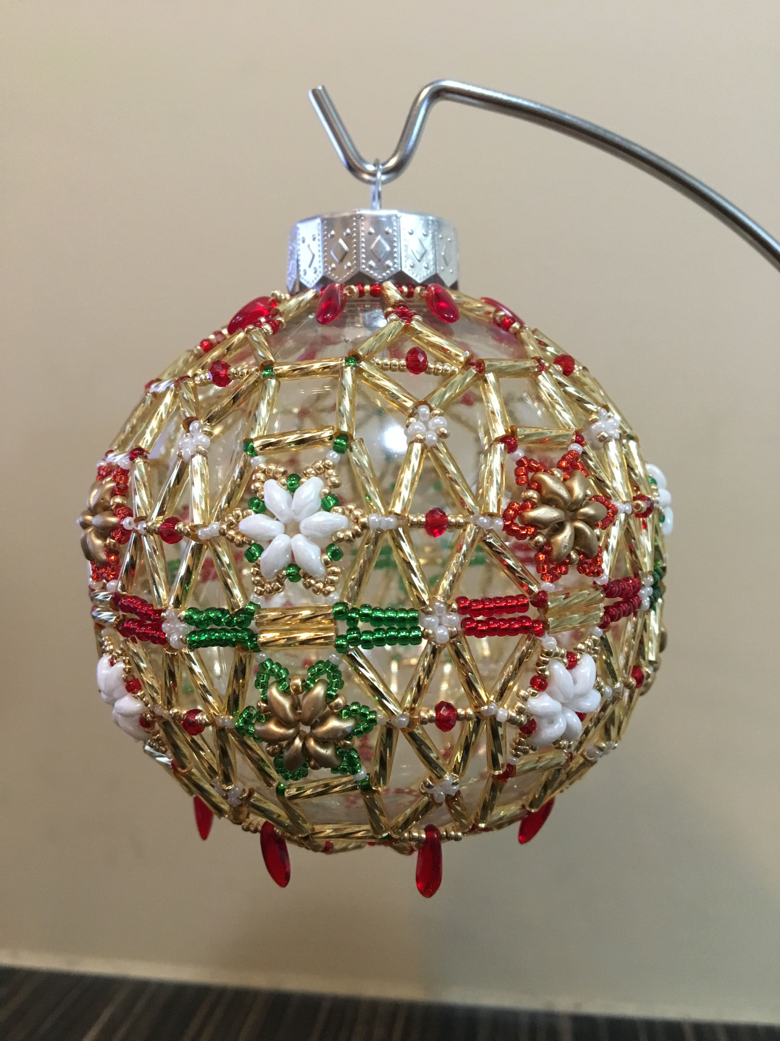Large Beaded Christmas Ornament Beaded Christmas Ornaments Beaded Christmas Decorations Christmas Bead