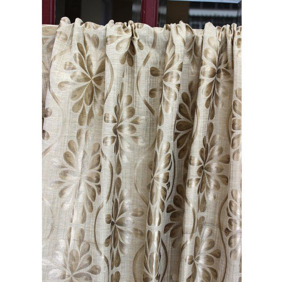 Beige Opulence Grommet Unlined Curtain in Textured Jacquard Weave Fabric Decor and Housewares Window Treatment Drapes Panels Home & Living