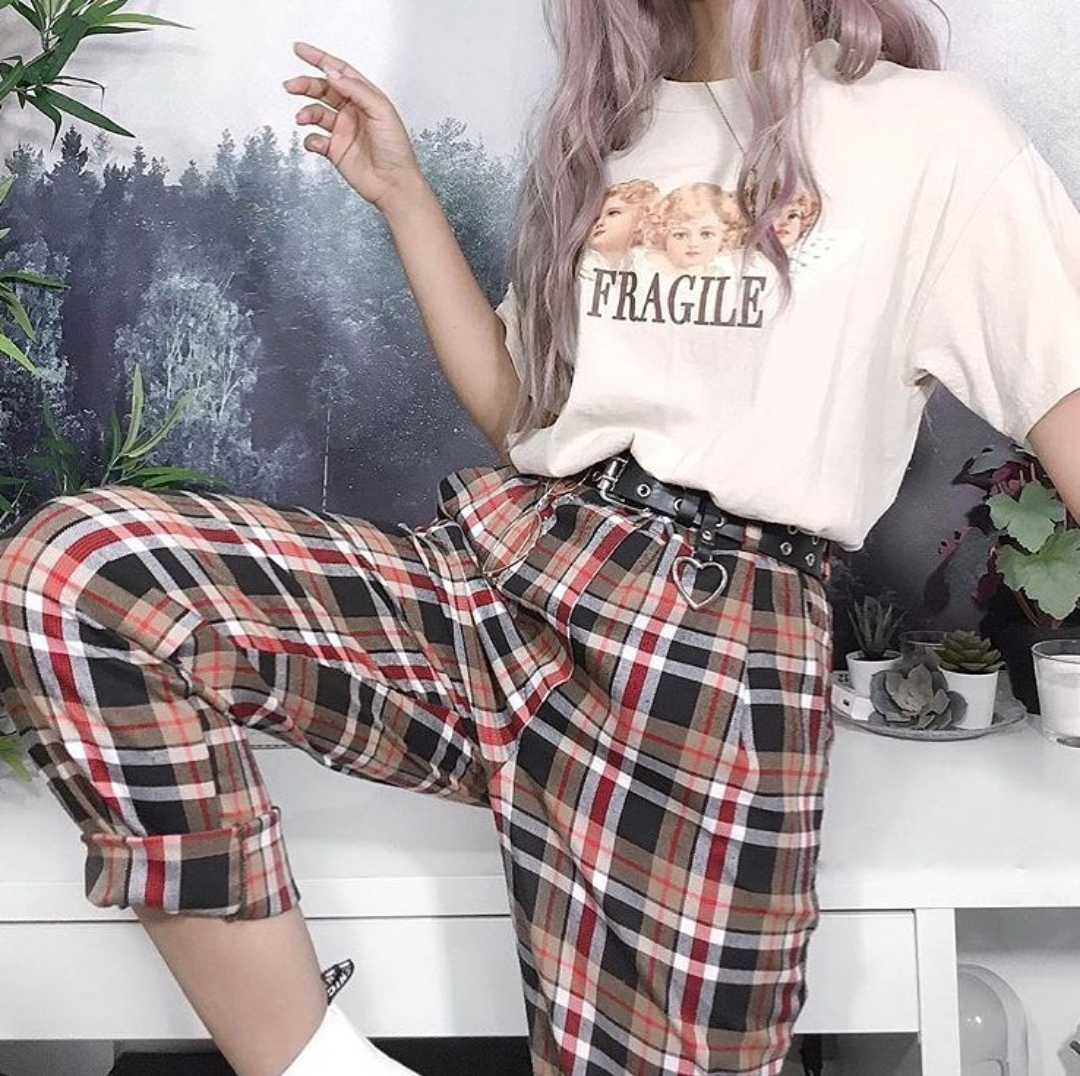 FRAGILE ANGELS TEE AND RACHEL PLAID TROUSERS 👼🏼🖤👼🏼