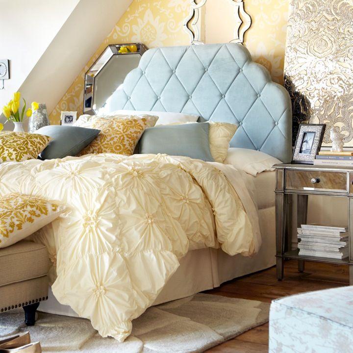 Hayworth Upholstered Headboard Ivory Rose Rug Savannah