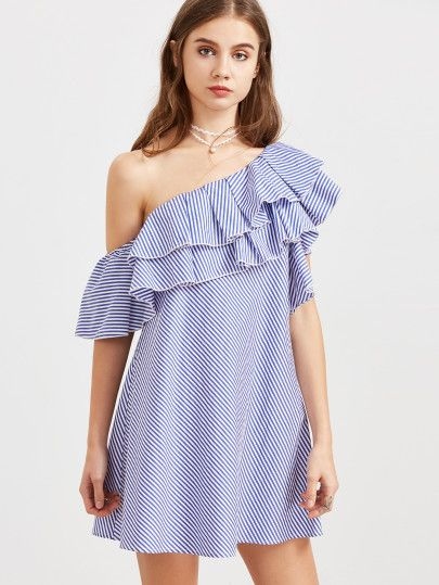 65a2bd7171e Blue Striped One Shoulder Layered Ruffle Dress