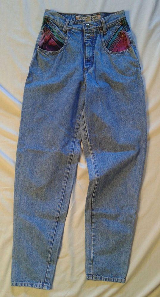 e51e26f1 VINTAGE 80s Zena Jeans SIZE 5 Multi Colored Pockets HIGH WAIST Tapered Leg  DENIM