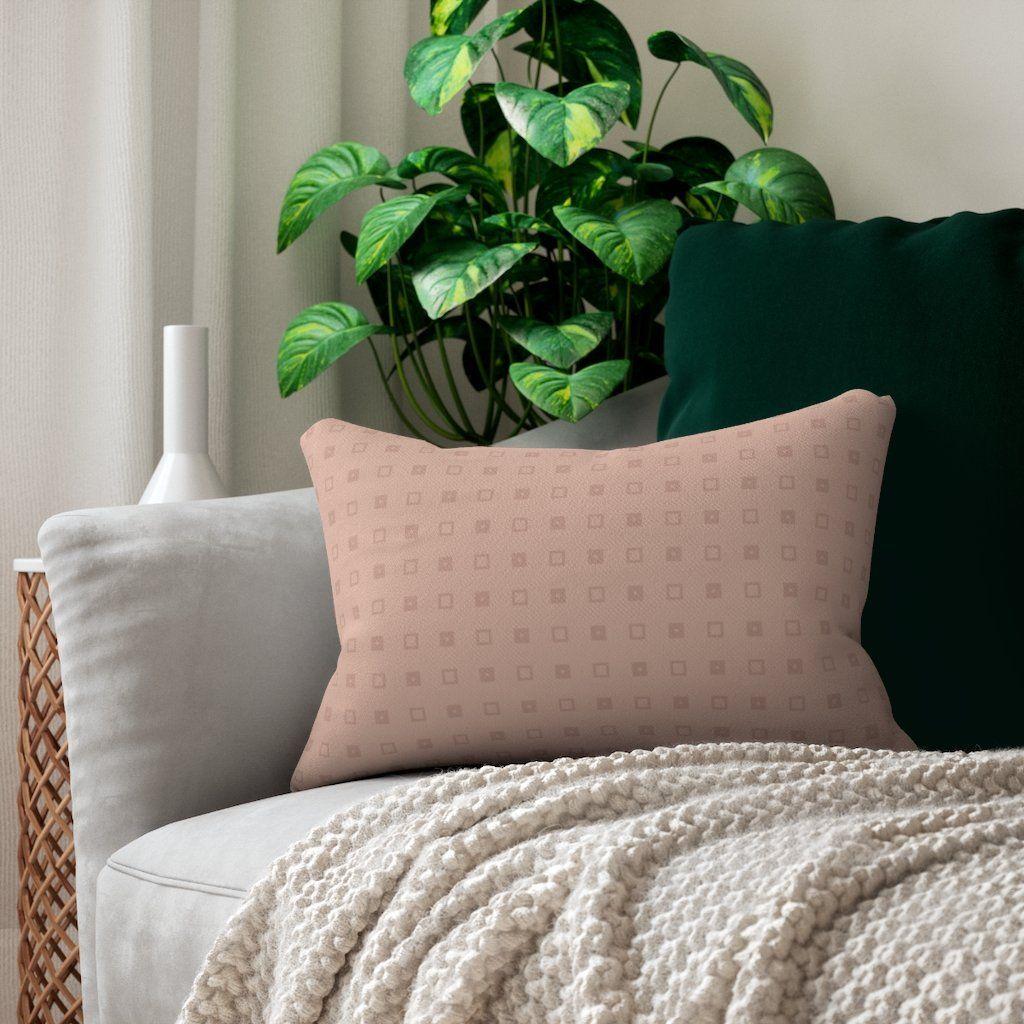 Blush Taupe Squares Lumbar Pillow – 14 × 20