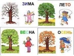 карточки времена года для детей развитие дети для детей